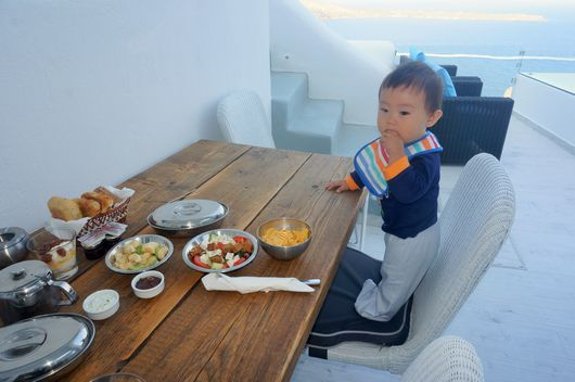 Baby Eating Greek Breakfast